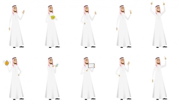 Conjunto de hombre de negocios musulmán
