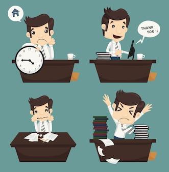 Conjunto de hombre de negocios sentado en el escritorio, oficinista