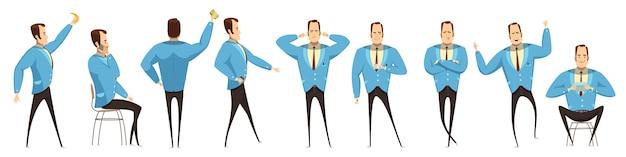 Conjunto de hombre de negocios en varias poses