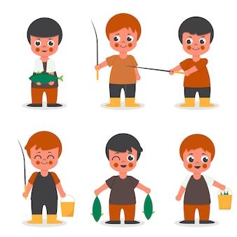 Conjunto de hombre pescador en la colección de personajes de dibujos animados, ilustración aislada