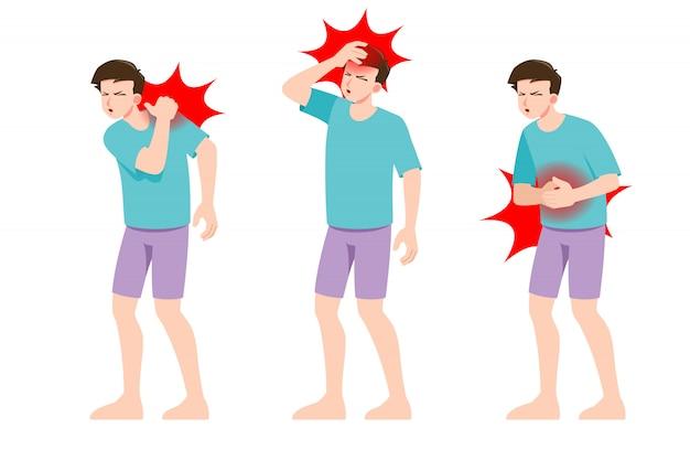 Conjunto de hombre siente dolor en diferentes partes del cuerpo.