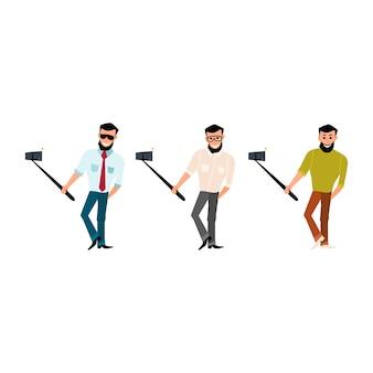 Conjunto de hombre sonriente con un barba inconformista tomar fotos