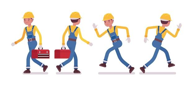 Conjunto de hombre trabajador caminando y corriendo, vista trasera y frontal