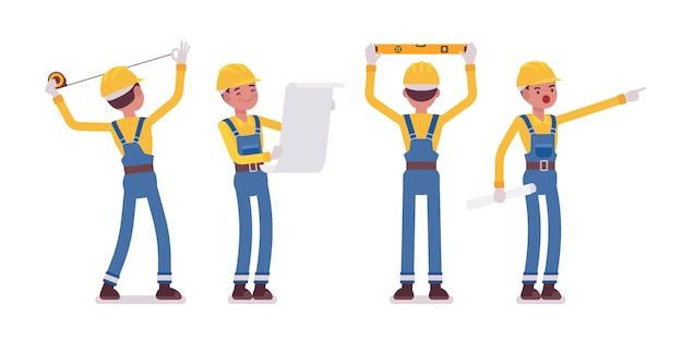 Conjunto de hombre trabajador haciendo medición y planificación