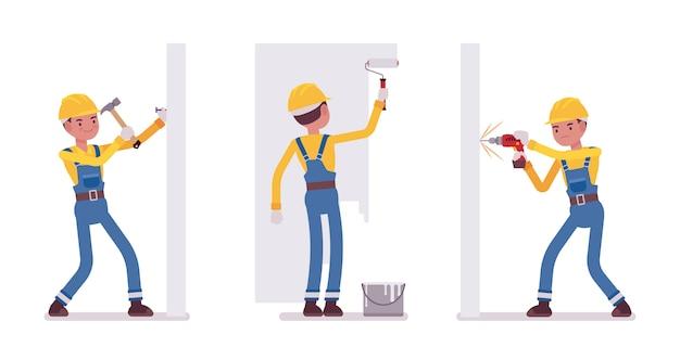 Conjunto de hombre trabajador trabajando con paredes