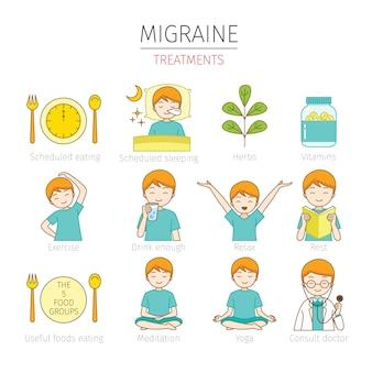 Conjunto de hombre con tratamientos para la migraña