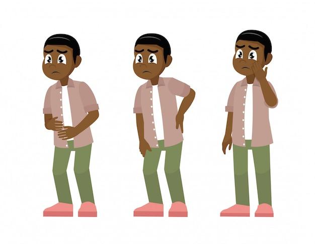 Conjunto de hombres africanos de carácter con dolor en diferentes partes del cuerpo.