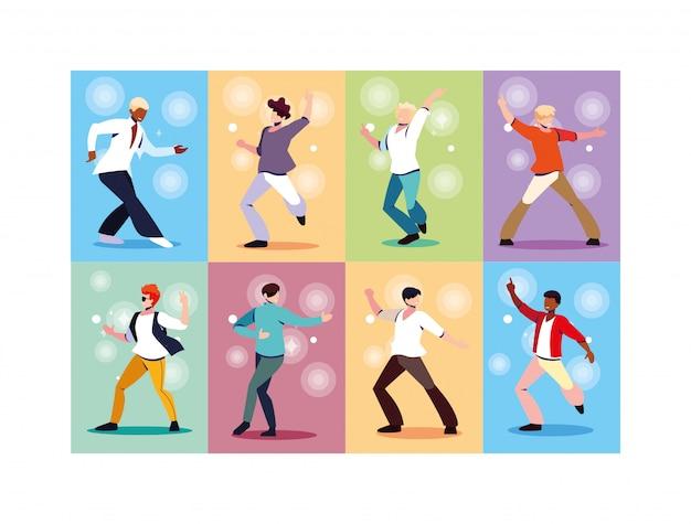 Conjunto de hombres bailando en discoteca, fiesta, música y vida nocturna.