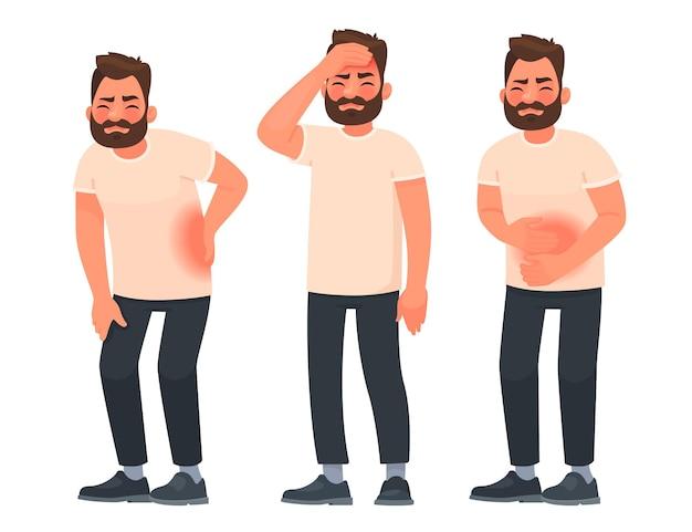 Conjunto de hombres de carácter con dolor en diferentes partes del cuerpo. dolor de espalda, dolor abdominal, dolor de cabeza, migraña.