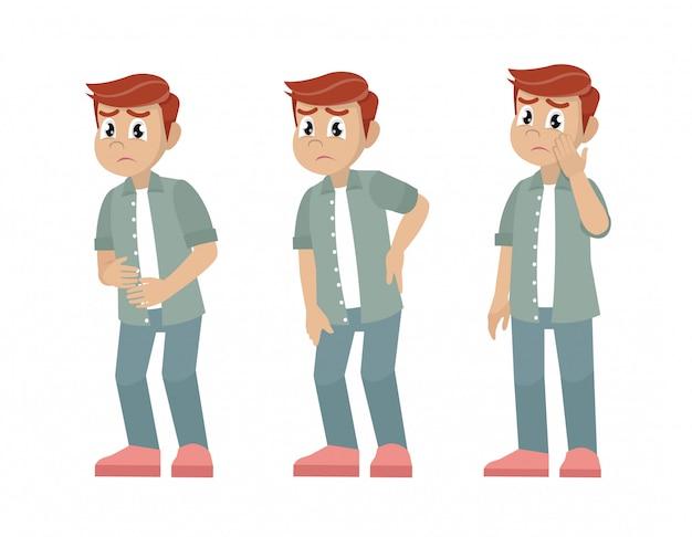 Conjunto de hombres de carácter con dolor en diferentes partes del cuerpo.