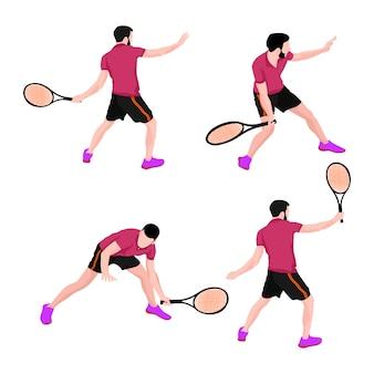 Conjunto de hombres deportistas de tenis