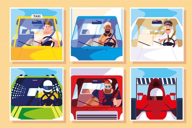 Conjunto de hombres con diferentes profesiones de conductores
