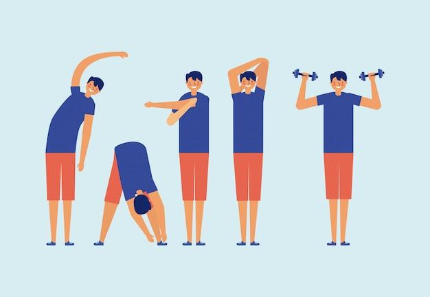 Conjunto de hombres haciendo ejercicio, estilo plano, concepto de fitness