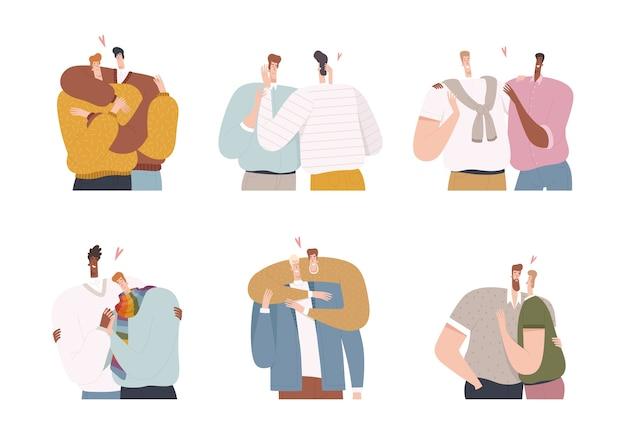 Conjunto de hombres homosexuales en una relación romántica por parejas. minorías sexuales y amor de los hombres