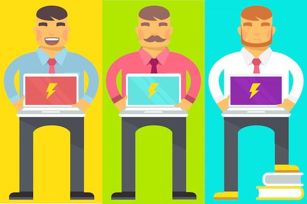 Conjunto de hombres con laptop
