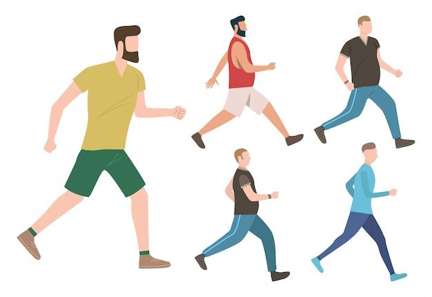 Conjunto de hombres manteniendo estilo de vida activo.