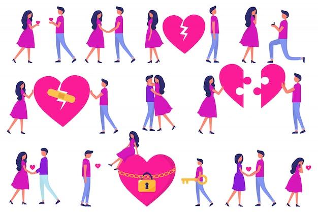 Un conjunto de hombres y mujeres, amor a primera vista, una cita, traición y peleas y abrazos, rompecabezas del corazón. desarrollo de una relación. vector de moda personas planas.