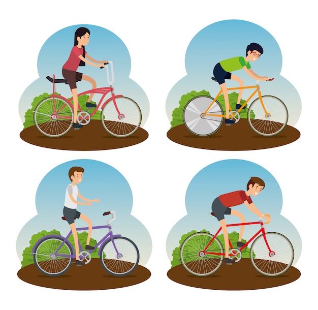 Conjunto hombres y mujeres andar en bicicleta