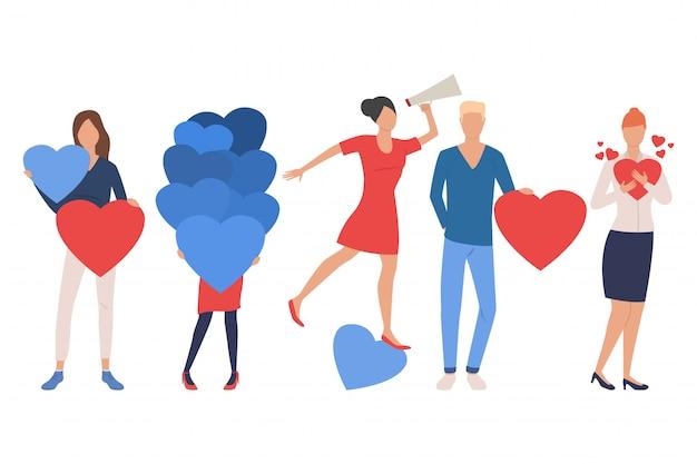 Conjunto de hombres y mujeres enamorados. personas que usan altavoz
