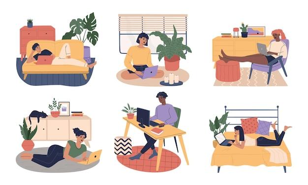 Conjunto de hombres y mujeres independientes jóvenes que trabajan en la oficina en casa en una computadora portátil y una computadora en un lugar de trabajo cómodo
