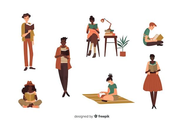 Conjunto de hombres y mujeres jóvenes leyendo