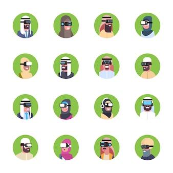 Conjunto de hombres de negocios árabes que usan los iconos modernos de las gafas 3d concepto de auriculares de realidad virtual