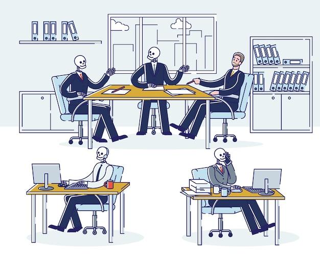 Conjunto de hombres de negocios esqueleto en el trabajo. trabajadores de oficina de cráneo en lugares de trabajo. gerentes zombis adictos al trabajo con exceso de trabajo