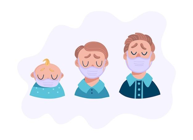 Conjunto de hombres tristes en máscara médica. jefes de adolescentes, bebés y adultos.