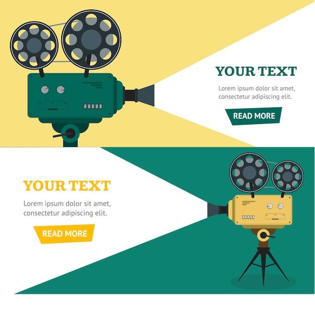 Conjunto horizontal de banner de cámara de vídeo profesional. estilo plano.