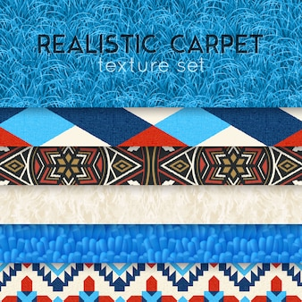 Conjunto horizontal realista de textura de alfombra