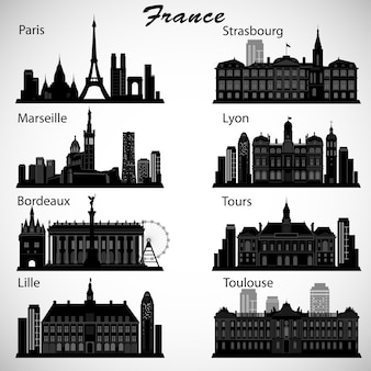 Conjunto de horizontes de ciudades de francia. siluetas