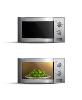 Conjunto de hornos de microondas realistas con comida dentro aislado en blanco