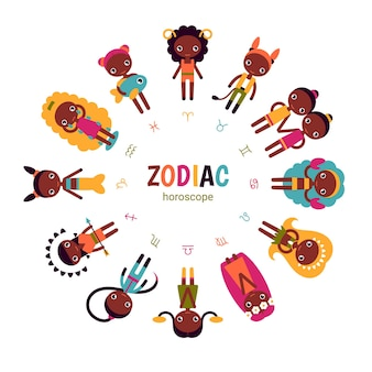 Conjunto de horóscopo del zodíaco ilustraciones planas vectoriales de afroamericanos