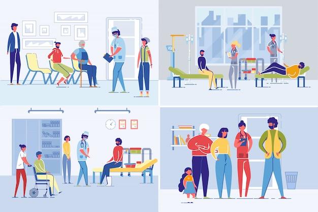 Conjunto de hospital o clínica de atención médica con pacientes.