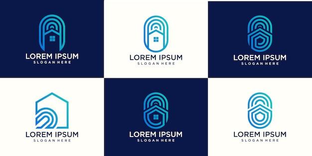 Conjunto de huellas dactilares, cerradura de huellas dactilares, llave de la casa, ilustración de icono de logotipo de seguridad segura