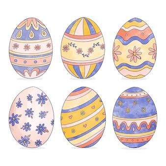 Conjunto de huevos de acuarela día de pascua