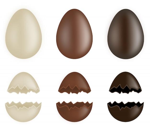 Conjunto de huevos de chocolate enteros y rotos