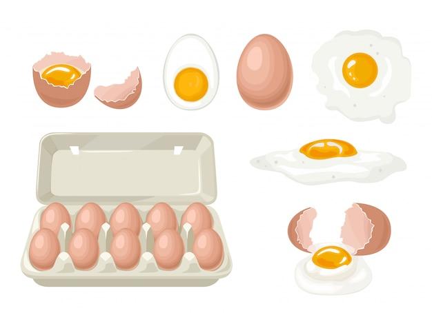 Conjunto de huevos de gallina.