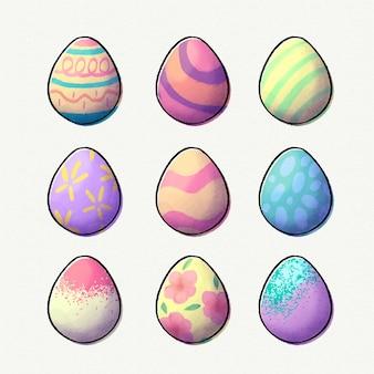Conjunto de huevos de pascua de acuarela
