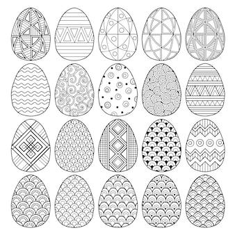 Conjunto de huevos de pascua en blanco y negro