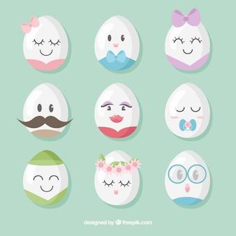 Conjunto de huevos de pascua con caras
