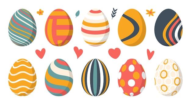 Conjunto de huevos de pascua de color con patrón. elementos de diseño para vacaciones.