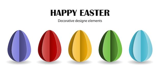 Conjunto de huevos de pascua coloridos en estilo de papel cortado