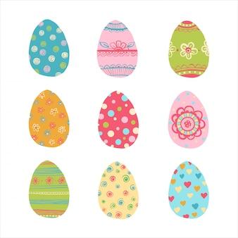 Conjunto de huevos de pascua dibujados a mano.