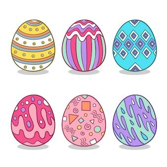 Conjunto de huevos de pascua con diferentes texturas dibujadas a mano