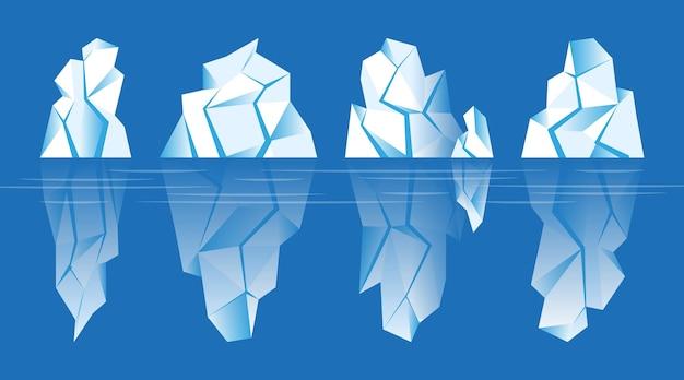 Conjunto de icebergs ilustrados en el océano.