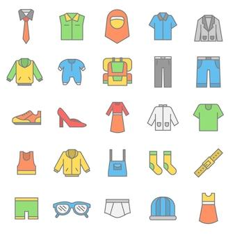 Conjunto de icono de accesorios de tela