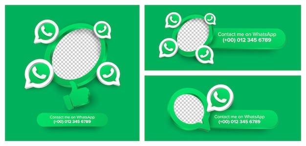 Conjunto de icono de banner whatsapp contáctame diseño de etiqueta
