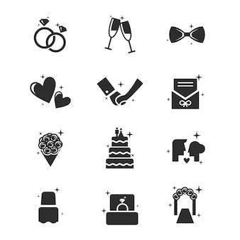 Conjunto de icono de la boda