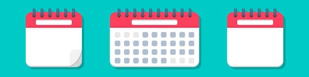 Conjunto de icono de calendario en estilo plano